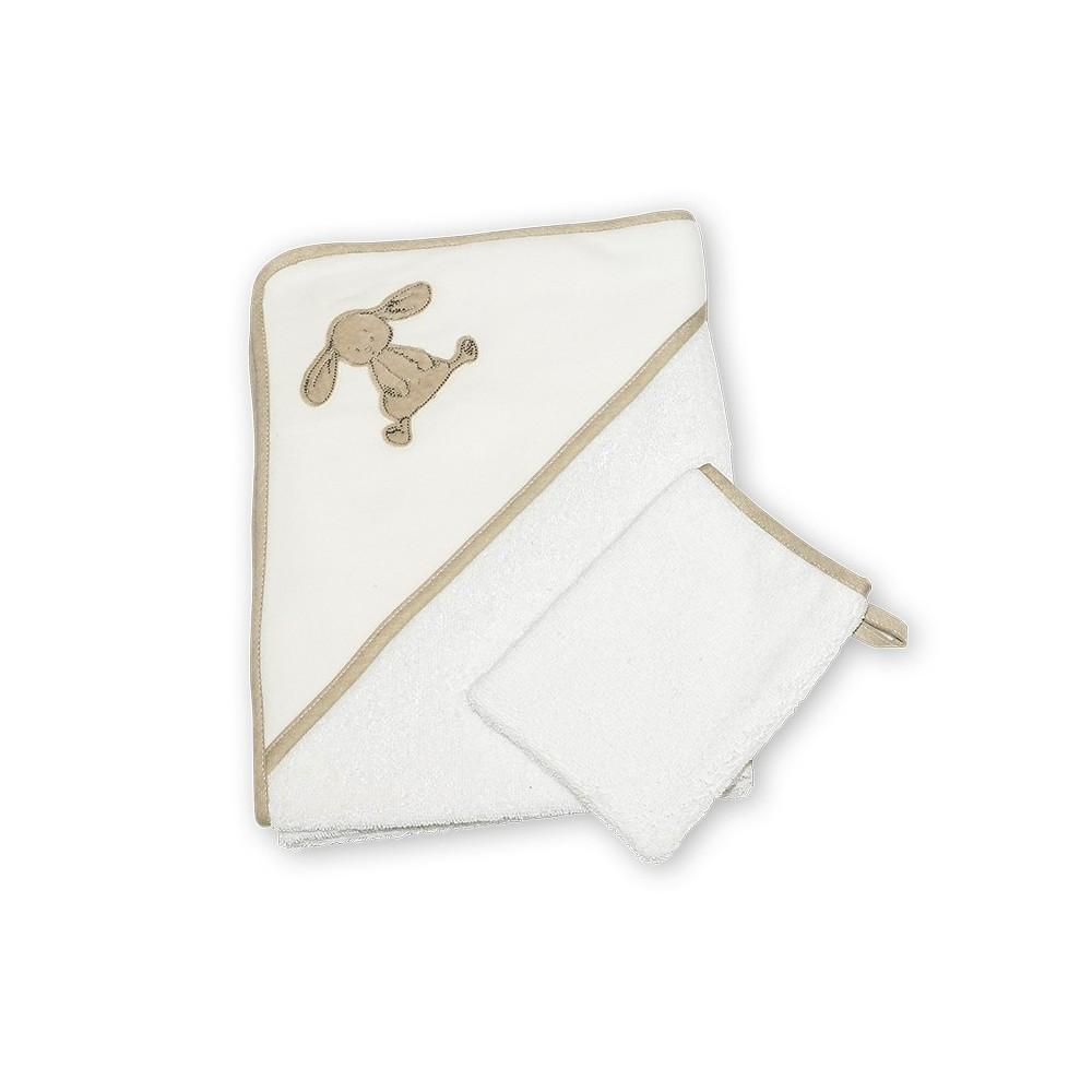 Cape de bain et gant de toilette Coquin le lapin