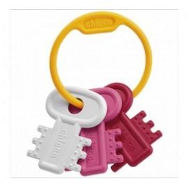 Hochet de dentition clés coloris rose - Chicco