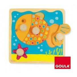 Puzzle poisson 4 pièces en bois - Goula