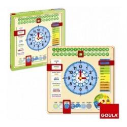 Horloge calendrier en bois - Goula