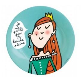 """Assiette en mélamine Princesse """"bouche pleine"""""""