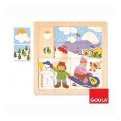 Puzzle 16 pièces thème hiver - Goula