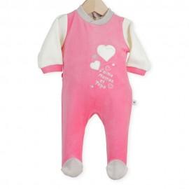 Dors-bien velours rose/vanille J'aime Maman et Papa 12 mois