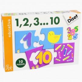 10 puzzles de 3 pièces 1,2,3...10 - Diset