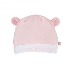 Bonnet en coton rose et blanc Noukies