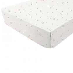 Drap housse blanc imprimé étoiles - Douxnid