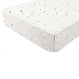 Drap housse étoiles/blanc 60x120 cm - Douxnid