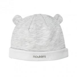 Bonnet en coton gris et blanc Noukies