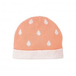 Bonnet en maille coton corail 0-3 mois - Noukies