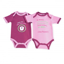 Body (lot de 2) US manches courtes Rose/Fushia