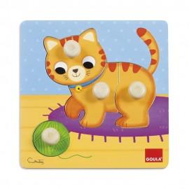 Puzzle chat 4 pièces en bois - Goula