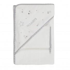 Cape de bain + gant blanc Poudre d'Etoiles - Noukies