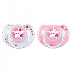 Lot de 2 sucettes nuit silicone 6-18 mois rose - Avent