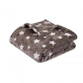 Couverture microdoux gris/blanc étoiles - Douxnid