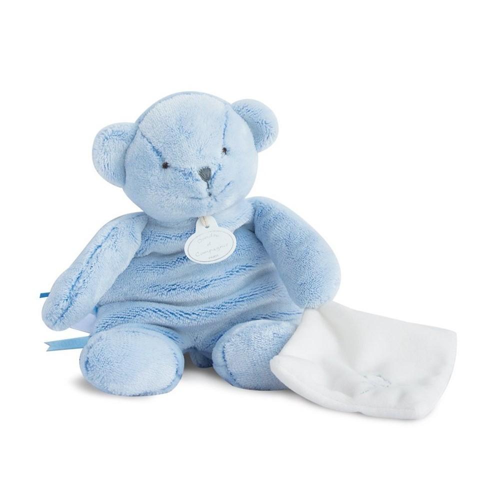 Ours pantin bleu avec doudou - Doudou et Compagnie