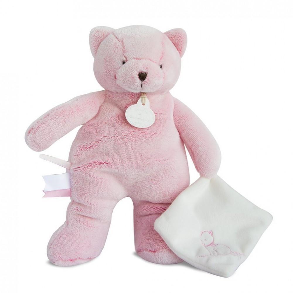 Chat pantin rose avec doudou - Doudou et Compagnie