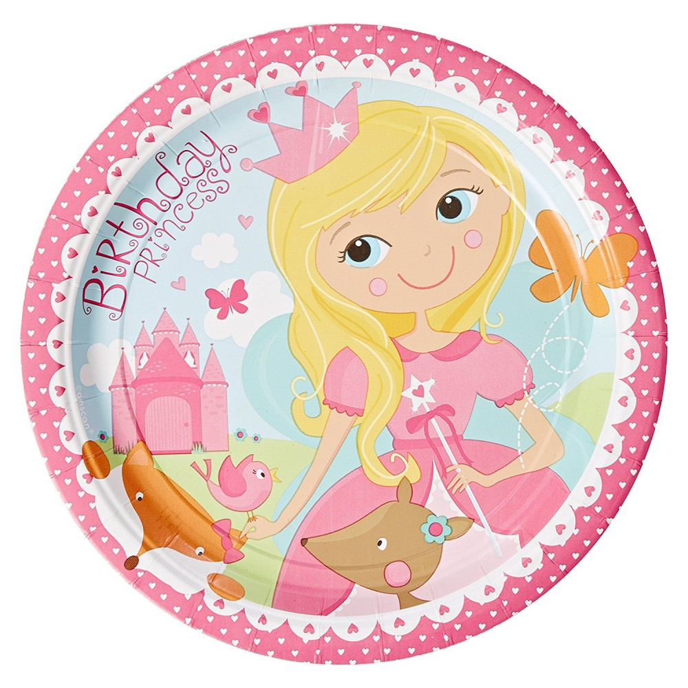 Assiettes en carton Woodland Princesse (lot de 8) - Amscan