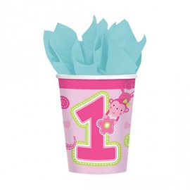 "Gobelets en carton ""Premier anniversaire"" rose  - Amscan"