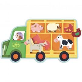 """Encastement """"camion des animaux de la ferme"""" - Vilac"""