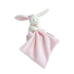 Doudou lapin mouchoir rose boite fleur - Doudou et Compagnie
