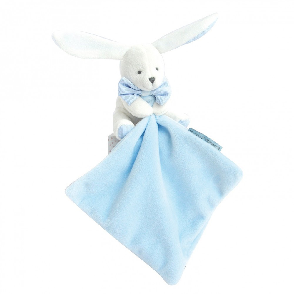 Doudou lapin mouchoir bleu boite fleur - Doudou et Compagnie
