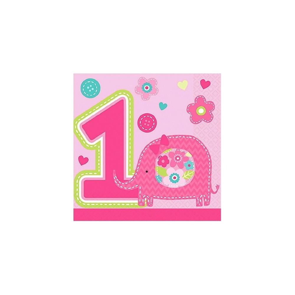 """Serviettes en papier """"Fun to be One"""" rose (lot de 16) - Amscan"""