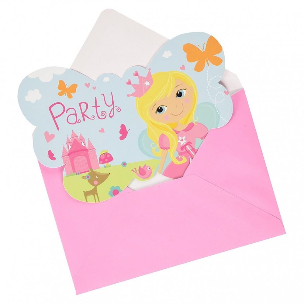 """Cartes d'invitations """"Princesse"""" (lot de 8)  - Amscan"""