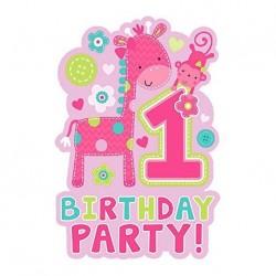 """Cartes d'invitations """"1er anniversaire"""" fille (lot de 8)  - Amscan"""
