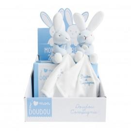 Mon coffret duo de doudous lapin bleu ciel - Doudou et Cie