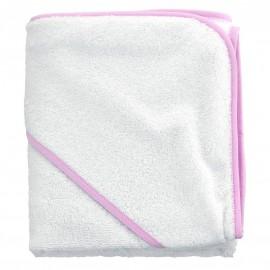 Cape de bain Tendresse blanche avec biais rose - Sensei