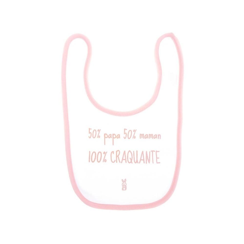 """Bavoir """"100 % craquante"""" blanc et rose - BB&CO"""