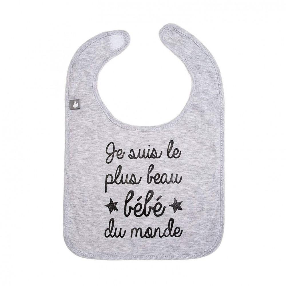 """Bavoir """"Je suis le plus beau bébé du monde"""" gris - BB&CO"""