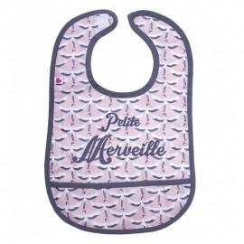 """Bavoir coton plastifié avec poche """"Petite Merveille"""" - BB&CO"""