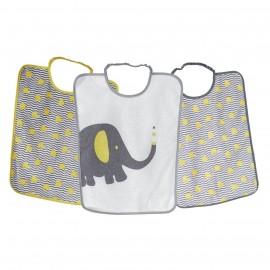 3 grands bavoirs maternelles en éponge plastifiée - Elephant