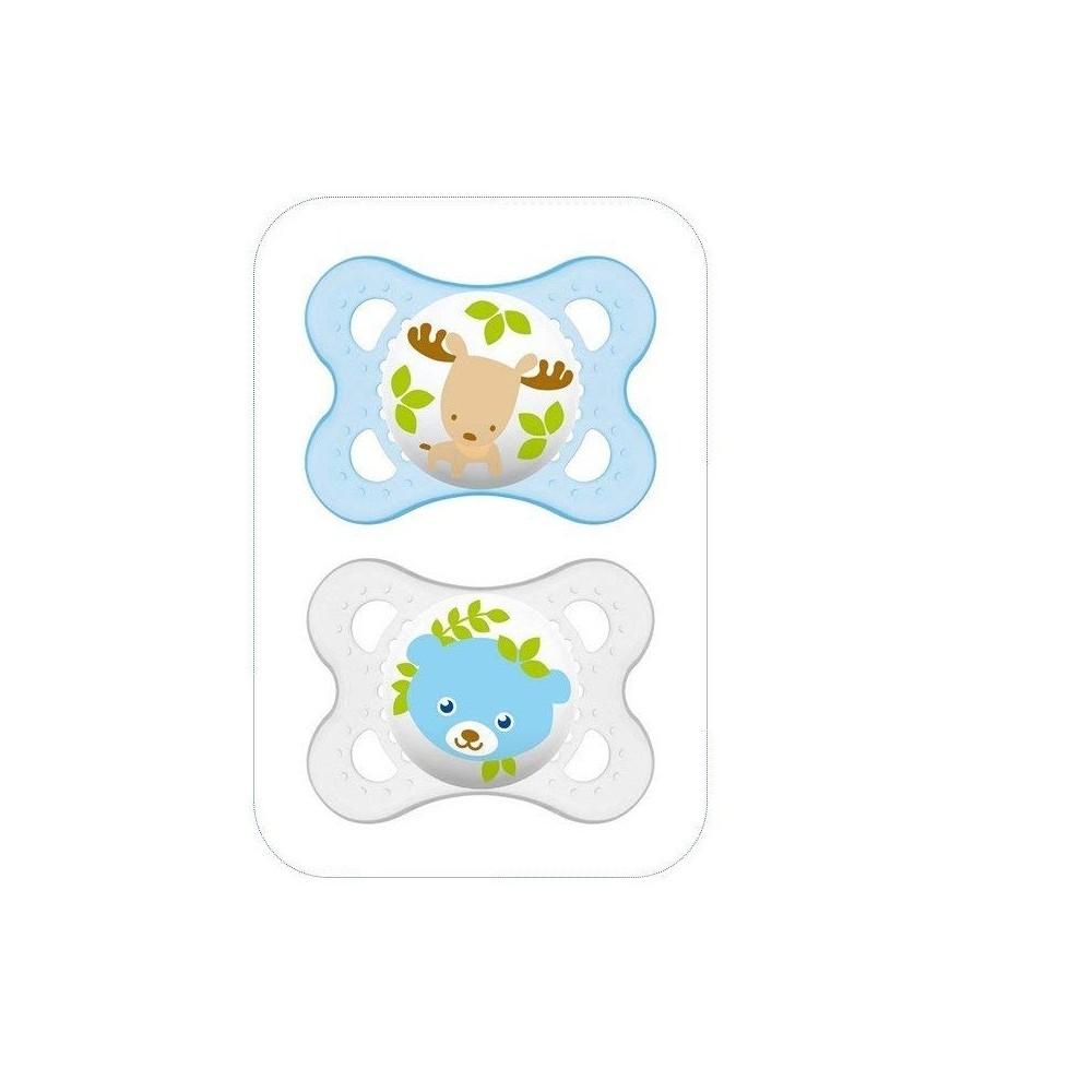 """Sucette décor """"Animaux"""" silicone 0-6 mois (lot de 2) - Bleu - MAM 4"""