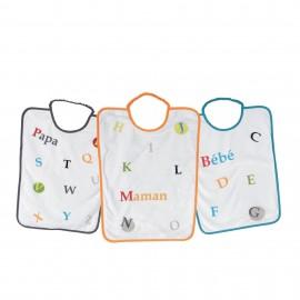 3 grands bavoirs maternelles en éponge plastifiée - Famille