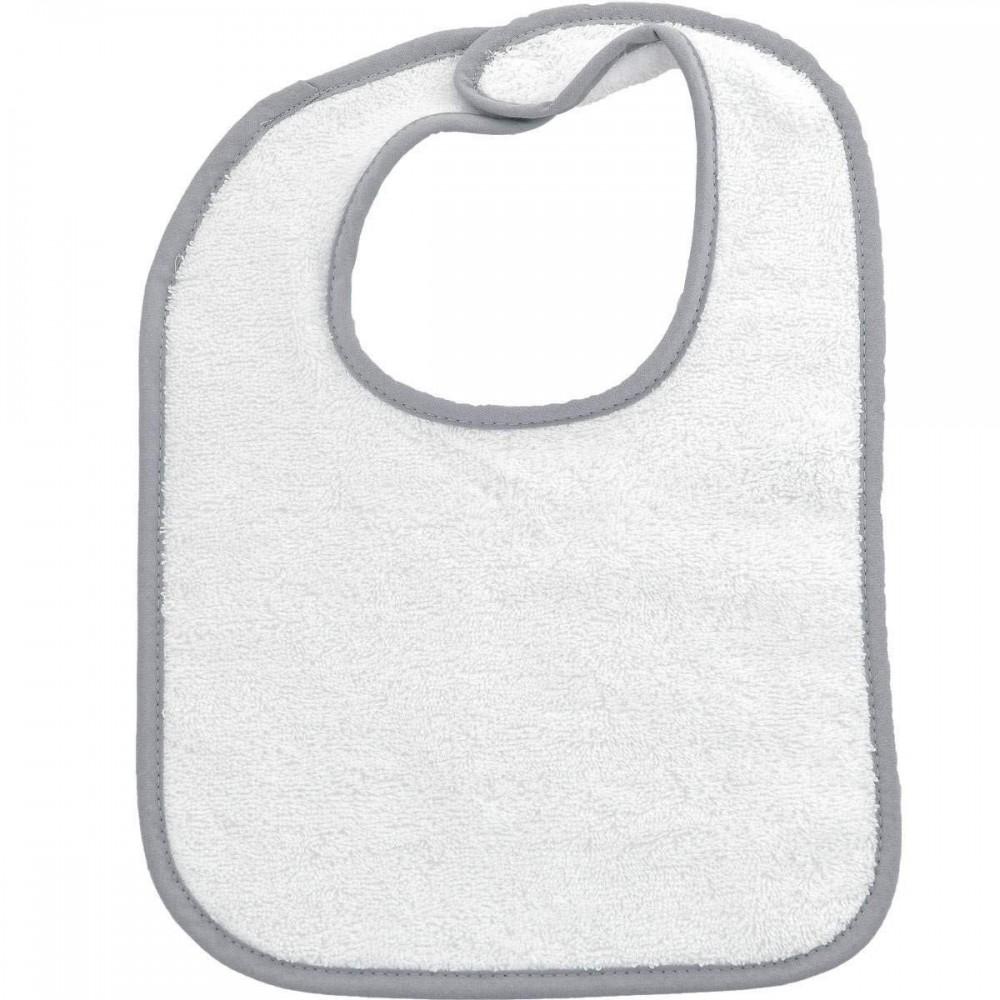 Bavoir éponge blanche biais gris - Sensei