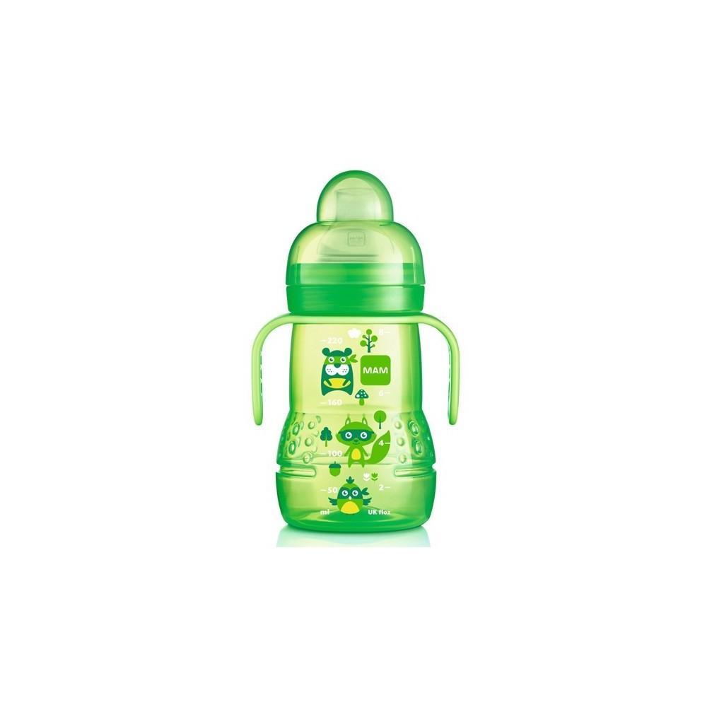 Biberon de transition vert avec bec antifuite - MAM