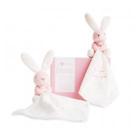 Mon coffret duo de doudous ours ou lapin rose - Doudou et Cie