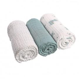 Set de 3 langes aqua en mousseline de coton bio - Noukies