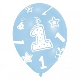 "Ballons gonflables ""Anniversaire 1 an"" bleu (lot de 6) - Amscan"