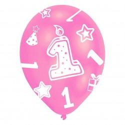 """Ballons gonflables """"Anniversaire 1 an"""" rose (lot de 6) - Amscan"""