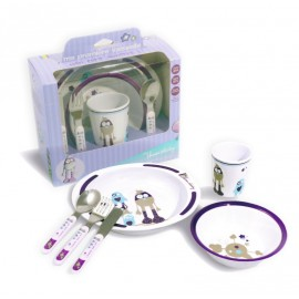 Set vaisselle 6 pièces Petits Monstres violet - Thermobaby