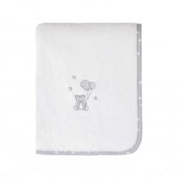 Serviette de toilette éponge -Babysoft ourson gris sur fond blanc - Sensei