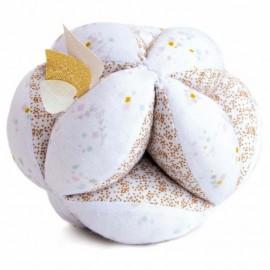 Balle sensorielle avec hochet - blanc - Lapin de Sucre - Doudou et Compagnie