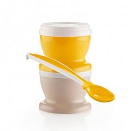 2 petits pots pour nourriture vert émeraude + cuillère - Thermobaby