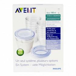 Système de conservation pour lait maternel 10 x 180ml et adaptateur tire-lait SCF618/10 - Avent
