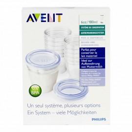 Système de conservation pour lait maternel 10 x 180ml et adaptateur tire-lait - Avent
