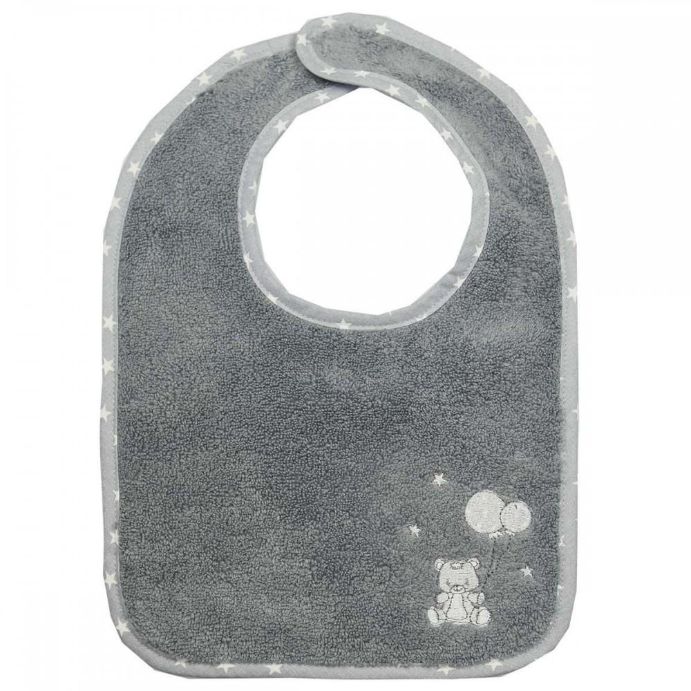 Bavoir éponge - Babysoft ourson - gris - Sensei