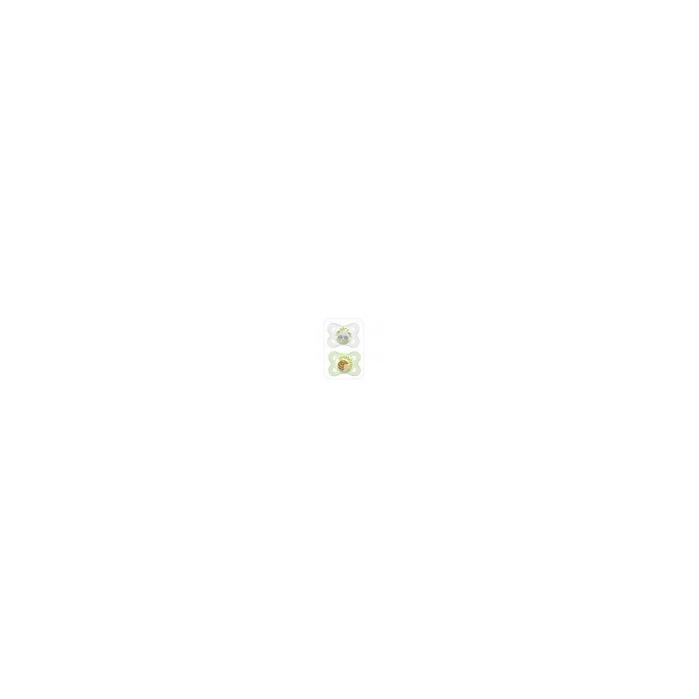 """Sucette décor """"Animaux"""" silicone 0-6 mois (lot de 2) - Vert - MAM"""